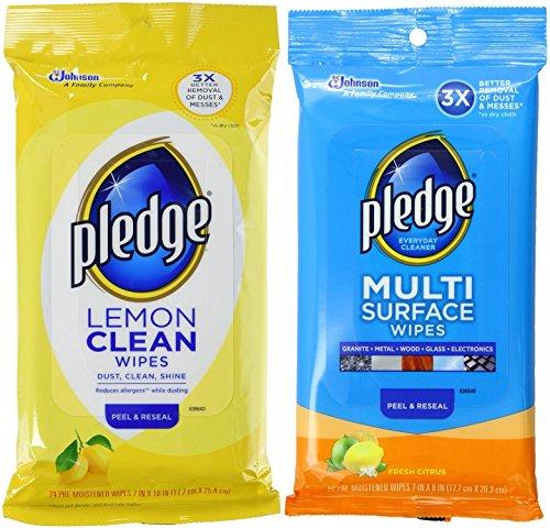 Pledge Multi Surface Fresh Citrus Wipes, 25 Count + Lemon Wipes, 24 Count