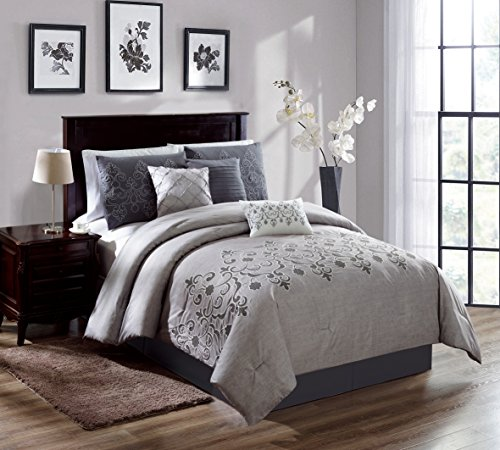 Chezmoi Collection Catalina 7-piece 2-tone Gray Embroidered Floral Scroll Pattern Bedding Comforter Set (Catalina King)