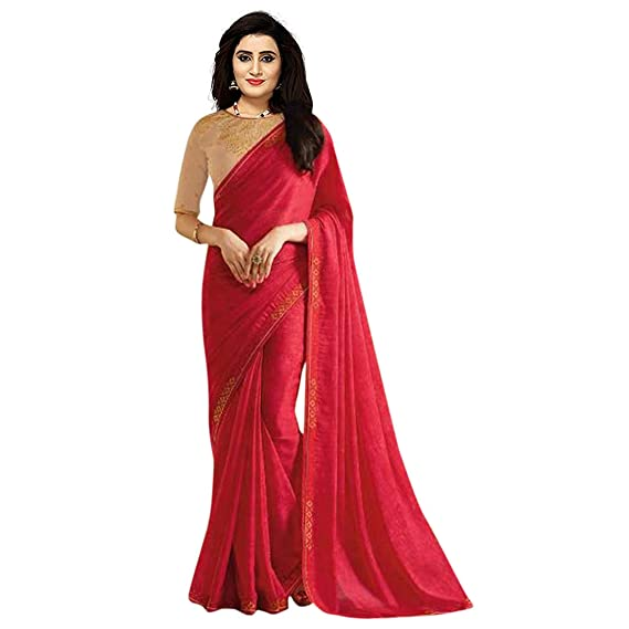 793eb4318641d9 Style Amaze Women's Rangoli Georgette Plain lace work Party wear Saree with  Unstitched Embroidered Blouse-(Red Color SA183_SE_R-31) Free Size: Amazon.in:  ...