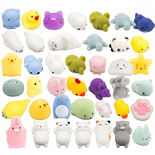 WATINC Random 30 Pcs Cute Animal Mochi Squishy, Kawaii Mini Soft Squeeze Toy,Fidget Hand Toy for Kids Gift,Stress Relief,Decoration, 30 Pack by WATINC