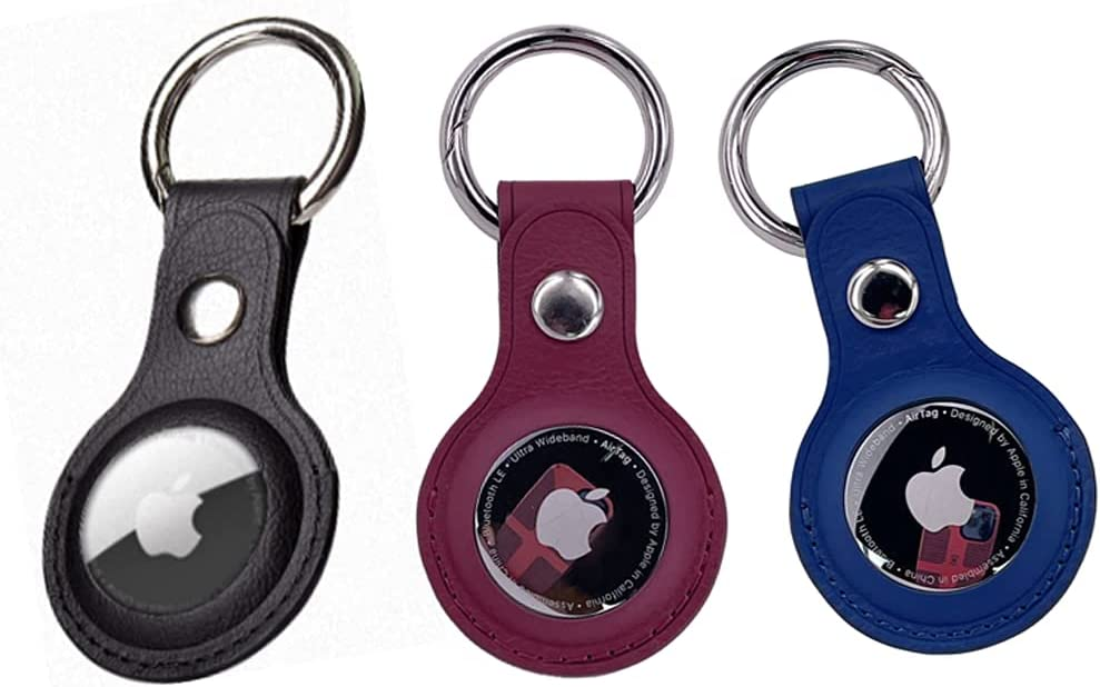 Leather Case for Apple AirTags Tracker, Finder Items, Leather Holder Scratch Protective Cover with Spring Keychain to Convenient for Carrying(3 Pack)(Color:Red,Blue,Black)