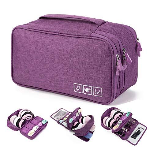 MODARANI Travel Bra Organizer Lingerie Underwear Sock Bag Overnight Toiletry Bag Purple