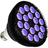 KINGBO 36W LED Blacklight Bulb E26 PAR38 with 18x2W UV 395nm LEDs for Home Party, Stage Lighting, Fishing Aquarium, Metallic Black DJ Blacklights Ultraviolet Bulb Auto Lighting Voice Control For Party