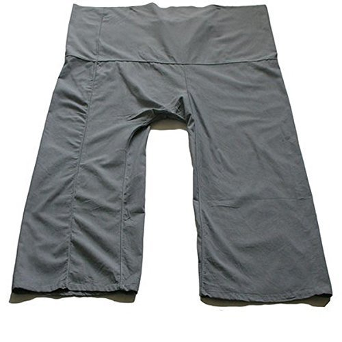 Grey-best Thai Fisherman Pants Yoga Trousers Free Size Toray Fabric (Light - Thai Pattern Fisherman Pants