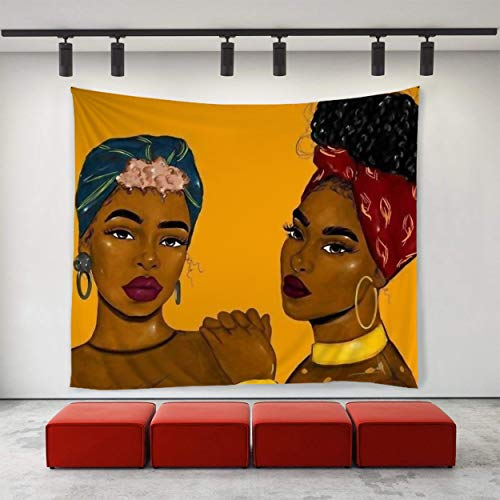 (SARA NELL Tapestry Black Art African American Women Afro Sisters Tapestries Hippie Art Tapestry Wall Hanging Home Decor Extra Large Tablecloths 50X60 Inches for Bedroom Living Room Dorm Room)