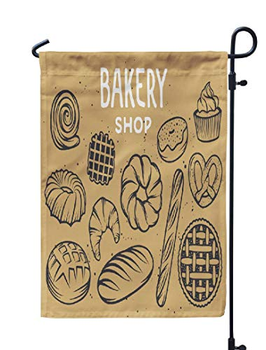 Soopat Home Sweet Home Seasonal Flag, Bakery with Bread Pie Sweets Cupcake Bakery Home Sweet Weatherproof Double Stitched Outdoor Decorative Flags for Garden Yard 12''L x 18''W Welcome Garden Flag
