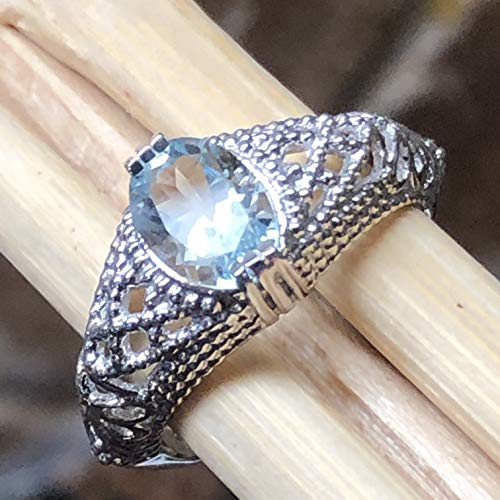 Natural 1.25ct Blue Aquamarine 925 Solid Sterling Silver Engagement Filigree Ring sz 6, 7, 8, 9