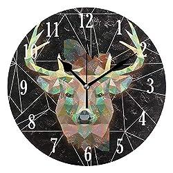 Dozili Black Geometric Elk Pattern Round Wall Clock Arabic Numerals Design Non Ticking Wall Clock Large for Bedrooms,Living Room,Bathroom