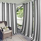 Elrene Home Fashions Aiden Indoor/Outdoor Cabana Stripe Grommet Top Single Panel Window Curtain Drape, 50' x 84' (1), Gray