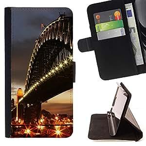 DEVIL CASE - FOR Samsung Galaxy S3 Mini I8190Samsung Galaxy S3 Mini I8190 - Architecture City Bridge - Style PU Leather Case Wallet Flip Stand Flap Closure Cover