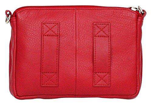 bandoulière luxueux Rouge véritable idéal cuir poches en pour Petit Rouge voyager plusieurs sac femme qFaE4E