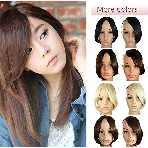 Fashion Clip In Bangs Extensions Front Full Side Bangs Fringe One Piece Thick Straight Hairpiece Accessories Synthetic Hairpiece For Women (9 inches,dark brown) (Long Curly Hair With Side Swept Bangs)