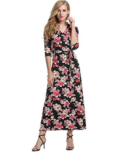 Negro V 3 Fiesta Noche 4 Elegante Floral Largo Rojo Meaneor Casual Cuello Manga Mujeres Vestido wqZTt0AO
