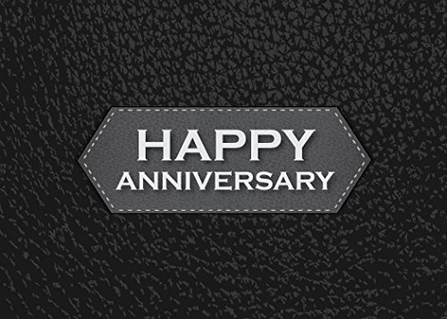 Anniversary Greeting Cards - A1702. Business Greeting Card Featuring Happy Anniversary on a Black Background with Leather Design. Box Set Has 25 Greeting Cards and 26 Bright White Envelopes. by CEO Cards