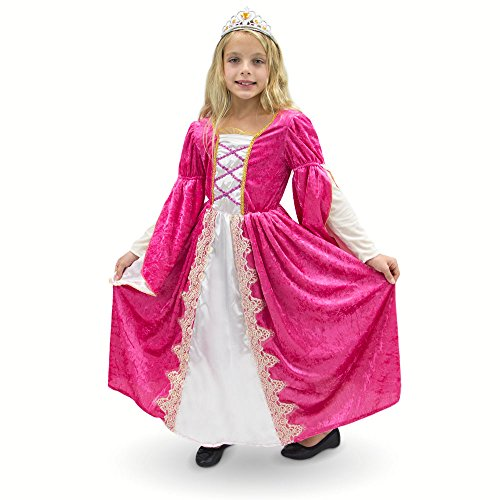 Fairy Godmother Sleeping Beauty Costume - Regal Queen Princess Pink Victorian Party Dress Kids Premium Halloween Costume (Youth Large (7-9))