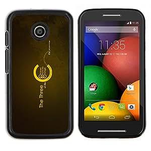 Los tres de la Vida- Metal de aluminio y de plástico duro Caja del teléfono - Negro - Motorola Moto E / XT1021 / XT1022