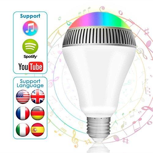 morpilot Smart Bluetooth Musik Leuchtmittel, E27 dimmbar Bluetooth Lautsprecher Leuchtmittel – LED Musik Licht Glühbirne Kostenlose App Control für iOS und Android