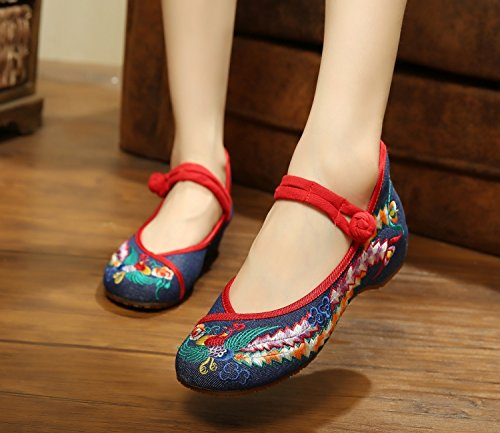 Style Beijing Folk Blue Shoes Shoes Old KHSKX Shoes Navy Phoenix Dance T5qXYUx