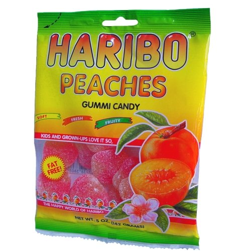 Haribo Gummi Candy Peaches, 5-ounces (Pack of12)
