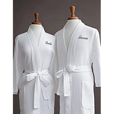 Luxor Linens Egyptian Cotton Waffle Weave Robe with Couple's Embroidery - Perfect Wedding Gift! (Bride/Groom)