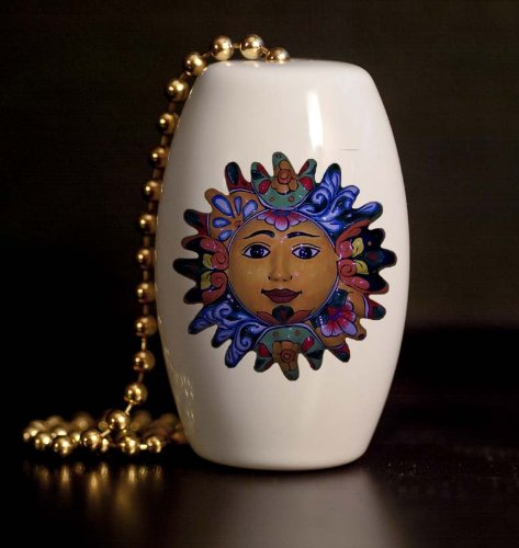 Mexican Talavera Design Fancy Sun Porcelain Fan / Light - Porcelain Ceiling Light
