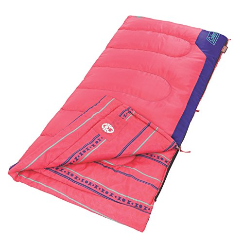 Coleman Kid's 50 Degree Sleeping Bag, Pink, 60 x 26-Inch