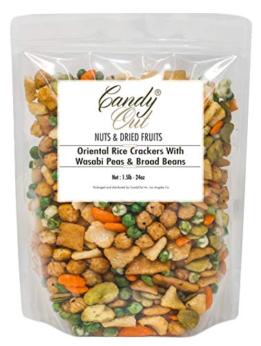 CandyOut Rice Crackers With Wasabi Peas and Broad Beans 1.5 Pound in Resealable Bag ()