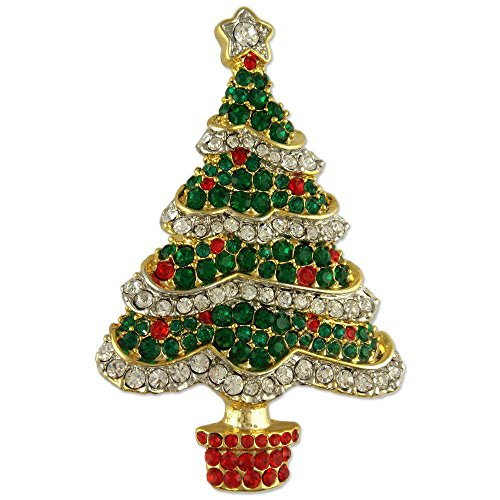 (CRYSTAL GOLD PLATED GREEN CHRISTMAS TREE PIN BROOCH MADE WITH SWAROVSKI ELEMENTS)