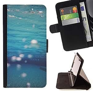 For Sony Xperia Z3 Plus / Z3+ / Sony E6553 (Not Z3) Case , Teal Mar Submarinismo- la tarjeta de Crédito Slots PU Funda de cuero Monedero caso cubierta de piel