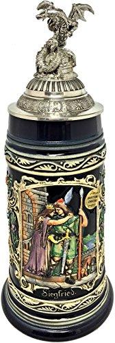 (Siegfrieds Departure with 3D Dragon Pewter Lid LE German Beer Stein .75)