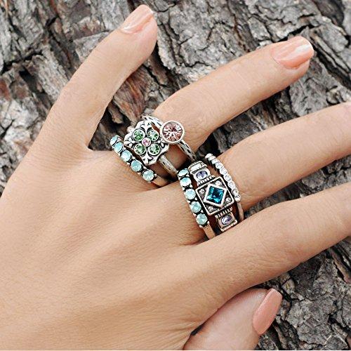 Sweet Romance Inspirational Silver Swarovski Crystal Boho Serenity Stack Rings - Set of 3 Stacking Rings (Size 9) by Sweet Romance (Image #1)