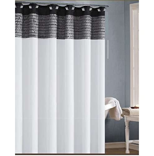 Amazon White Black And Gray Fabric Shower Curtain With Sequins Home Kitchen