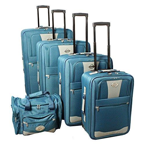 (TRANSWORLD 5-Piece Expandable Wheeled Upright Luggage Set,)