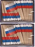 2 Boxes of Mini Russia Toothpick Flags%2