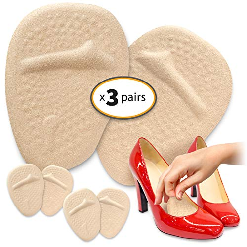 CushyStep Metatarsal Pads for Women On The Go - (3 Pairs Pack) Ball of Foot Cushions Shoe Inserts for High Heels Comfort. Slide-Proof, Reusable Feet Pad Shoe Insoles for All Day Pain Relief.