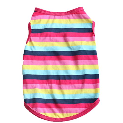 - Wakeu Pet Supplies Pet Shirt Puppy Cotton Tricolor Stripe Clothes for Small Dog Girl Yorkies Boy Yorkies (XS, Hot Pink)