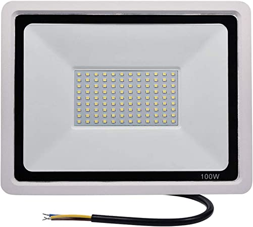 FAMURE 100W LED Flood Light, 10000LM 6000-6500K Daylight White, IP67 120 SMD2835 Security Lights, Waterproof Super Bright Outdoor Floodlight for Garden Yard, Lawn, Playground, Basketball Court 100W