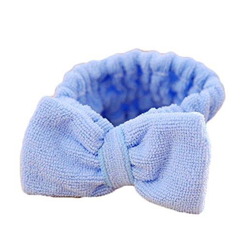 Women Beauty Makeup Bow Headband Bath Wash Face Hairdo Elastic Towel Headwear Female Hair Holder Bands Headpiece Gift blue