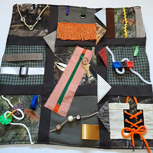 (Memory Loss & Alzheimer's Fidget Quilt, Dementia Toy, Alzheimer's Activity Product - Rustic Colors)