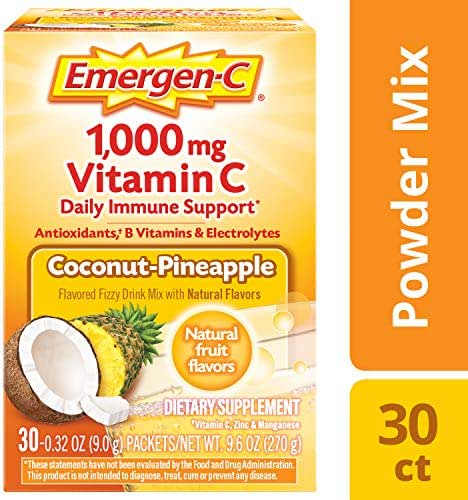 Emergen-C Vitamin C 1000mg Powder (30 Count, Coconut Pineapple Flavor, 1 Month Supply), with Antioxidants, B Vitamins and Electrolytes, Dietary Supplement Fizzy Drink Mix, Caffeine Free