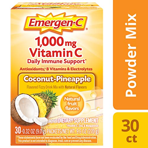 Emergen-C 1000mg Vitamin C Powder, with Antioxidants, B Vitamins and Electrolytes, Vitamin C Supplements for Immune Support, Caffeine Free Fizzy Drink Mix, Coconut Pineapple Flavor - 30 Count/1 Month