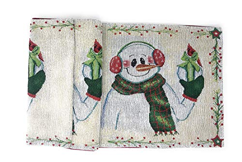 DaDa Bedding Magical Snowman Table Runner - Festive Holiday White Tapestry - Cotton Linen Woven Dining Mats (9733) (13x90)