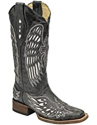 Corral Boots A1986 Silver Ladies Cross and Wings Square Toe