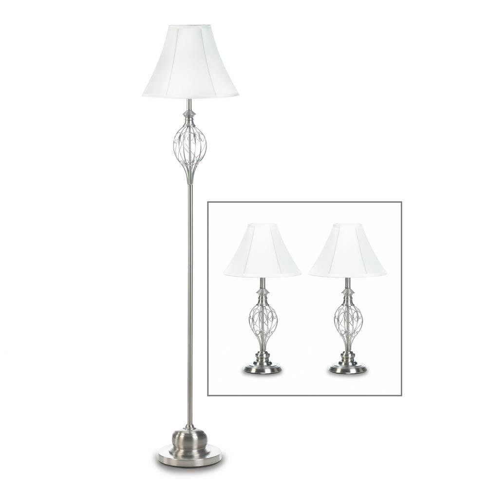 Table Lamp Set, Metal Contemporary Table Lamp Set Trio Lamp Set - Silver by Gallery of Light