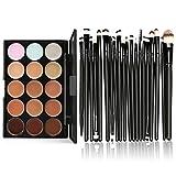Clearance,Oliviavan 15 Colors Contour Face Cream Makeup Concealer Palette Professional + 20 Brush Set (Black)