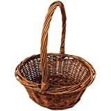 """Oval Shaped -SMALL- Willow Handwoven Easter Basket by Royal Imports 9""""(L) x7""""(W) x3.5""""(H) (10.5""""(H) w/ handle) braided rim - with Plastic Insert"""