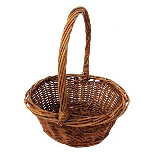 Oval Shaped SMALL Willow Handwoven Easter Basket By Royal Imports 9L X7W X35H 105H W Handle Braided Rim