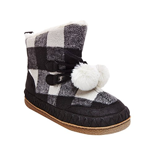 Women's Mad Love Carly Black and White Plaid Bootie Slippers Small (5-6) by Mad Love