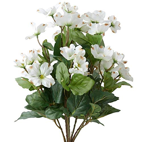 Factory Direct Craft Creamy White Poly Silk Dogwood Floral Bush | for Indoor Decor