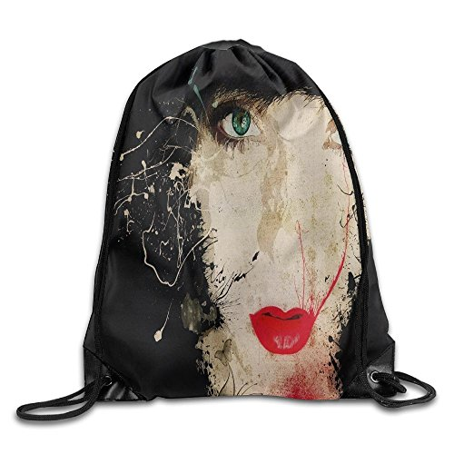 Yishuo 3d Abstract Artistic Brunette Cgi Digital Art Drawing Emo Face Lipstick Mood Oiled Person Portrait Red Vector Woman Drawstring Pack Beam Mouth Gym Sack Shoulder Bags For Men & Women